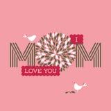 Tarjeta del día de madres con dos pájaros y te amo textos lindos de la mamá Foto de archivo