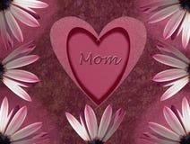 Tarjeta del día de madres con el corazón y la flor Imagen de archivo