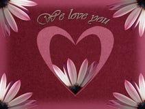 Tarjeta del día de madres con el corazón y la flor Foto de archivo libre de regalías