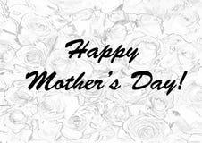Tarjeta del día de madres con las rosas inconsútiles en el fondo blanco Fotografía de archivo
