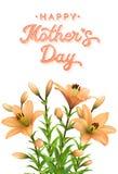 Tarjeta del día de madres con los lirios y las letras anaranjados Fotografía de archivo libre de regalías