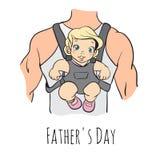Tarjeta del día de padres, estilo retro Ilustración del vector Fotos de archivo