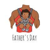Tarjeta del día de padres Ilustración del vector de la historieta Padre con la hija Cuadro drenado mano Foto de archivo libre de regalías
