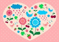 Tarjeta del día de San Valentín con las flores, los pájaros y las bayas Fotos de archivo libres de regalías