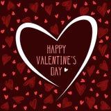 Tarjeta del día de San Valentín con los corazones del dibujo de la mano en fondo del marrón oscuro stock de ilustración