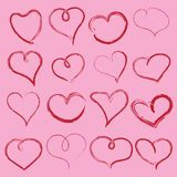 Tarjeta del día de San Valentín con los corazones manuscritos Vector ilustración del vector