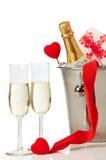 Tarjeta del día de San Valentín de Champán foto de archivo libre de regalías