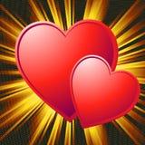 Tarjeta del día de San Valentín de dos corazones Fotos de archivo