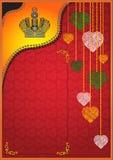 Tarjeta del día de San Valentín de la corona del corazón Foto de archivo