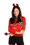 Tarjeta del día de San Valentín de la mujer del diablo fotos de archivo libres de regalías