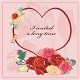Tarjeta del día de San Valentín de las rosas Fotos de archivo libres de regalías