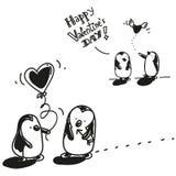 Tarjeta del día de San Valentín de los pingüinos Imagen de archivo libre de regalías