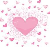 Tarjeta del día de San Valentín del corazón Foto de archivo libre de regalías