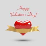Tarjeta del día de San Valentín del corazón Imagen de archivo libre de regalías