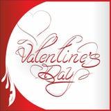 Tarjeta del día de San Valentín del corazón \ 'caligrafía del día de s Imagen de archivo