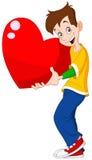 Tarjeta del día de San Valentín del corazón de la explotación agrícola del adolescente Imagen de archivo