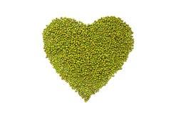 Tarjeta del día de San Valentín del corazón de la haba verde Foto de archivo