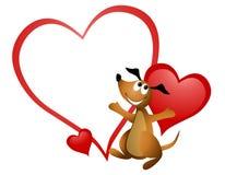 Tarjeta del día de San Valentín del corazón del perro de la historieta Fotos de archivo