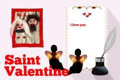 Tarjeta del día de San Valentín del santo Foto de archivo