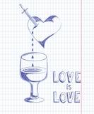 Tarjeta del día de San Valentín dibujada en la hoja del cuaderno stock de ilustración