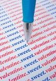 Tarjeta del día de San Valentín dulce: mensaje del amor. Fotografía de archivo libre de regalías