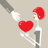Tarjeta del día de San Valentín emocional del romance del intercambio del amor del corazón Foto de archivo