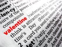 Tarjeta del día de San Valentín en diccionario Imagen de archivo libre de regalías