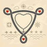 Tarjeta del día de San Valentín en estilo marina Fotografía de archivo libre de regalías