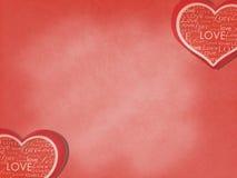 Tarjeta del día de San Valentín en fondo del amor El papel rojo cortado en corazón le gusta la tarjeta de la forma con diversas p Imágenes de archivo libres de regalías