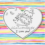 Tarjeta del día de San Valentín, erizo con el dibujo del corazón Fotos de archivo