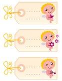 Tarjeta del día de San Valentín \ \ \ 'etiquetas en blanco de s con ángel Imágenes de archivo libres de regalías