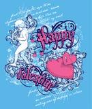 Tarjeta del día de San Valentín feliz libre illustration