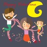 Tarjeta del día de San Valentín feliz con mi familia libre illustration