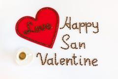 Tarjeta del día de San Valentín feliz de San con amor y una taza de café Fotografía de archivo