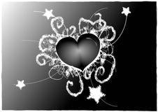 Tarjeta del día de San Valentín gótica blanco y negro Imagen de archivo libre de regalías
