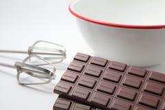 Tarjeta del día de San Valentín hecha a mano del chocolate que cocina imagen Imagenes de archivo