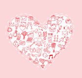 Tarjeta del día de San Valentín, iconos del amor, ejemplo del vector Imágenes de archivo libres de regalías