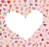 Tarjeta del día de San Valentín, iconos del amor, ejemplo del vector Imagen de archivo libre de regalías