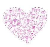 Tarjeta del día de San Valentín, iconos del amor, ejemplo del vector Fotografía de archivo