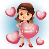 Tarjeta del día de San Valentín de la historieta de Avatar con la moda retra ilustración del vector