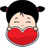 Tarjeta del día de San Valentín linda de la muchacha Foto de archivo