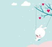 Tarjeta del día de San Valentín linda del conejito Fotografía de archivo libre de regalías