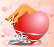 Tarjeta del día de San Valentín: loveseat Stock de ilustración