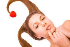 Tarjeta del día de San Valentín \ \ \ 'muchacha de día de s en blanco Foto de archivo libre de regalías
