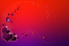 Tarjeta del día de San Valentín roja y púrpura Fotografía de archivo
