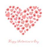Tarjeta del día de San Valentín rosada handdrawing Foto de archivo