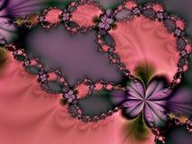 Tarjeta del día de San Valentín rosada y púrpura   Foto de archivo libre de regalías