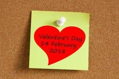 Tarjeta del día de San Valentín ` s Day14 concepto de febrero de 2018 Fotos de archivo