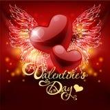 Tarjeta del día de San Valentín \ 'tarjeta del día de s con los corazones Imagen de archivo