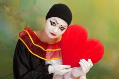Tarjeta del día de San Valentín triste Pierrot Fotos de archivo libres de regalías